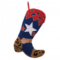 Glitzhome 20.69  in. H Hooked Stocking Blue Boot