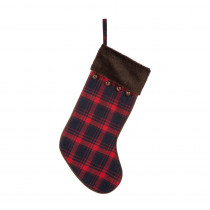 Glitzhome 20 in. L Plaid Stocking with Faux Fur Cuff