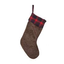 Glitzhome 19 in. L Plush Stocking with Plaid Cuff