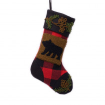 Glitzhome 19 in. Polyester/Acrylic Plaid Christmas Stocking with Rug Hooked Bear