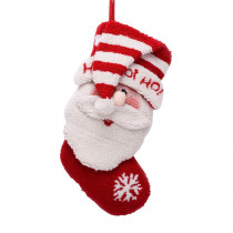 Glitzhome 20 in. Polyester/Acrylic Hooked Christmas Stocking with 3D Santa