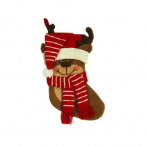 Glitzhome 19 in. Polyester/Acrylic Hooked 3D Reindeer Christmas Stocking