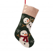 Glitzhome 19.3 in. Polyester/Acrylic Hooked Christmas Stocking with Snowmen Image