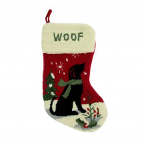 Glitzhome 19 in. Polyester/Acrylic Handmade Christmas Stocking with Dog Image