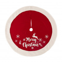 Glitzhome 48 in. D Fabric Christmas Tree Skirt in Merry Christmas