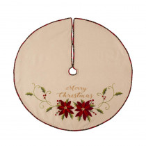Glitzhome 48 in. D Fabric Christmas Tree Skirt in Poinsettia