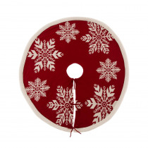 Glitzhome 48 in. D Knitted Christmas Tree Skirt in Snowflake