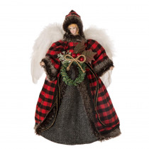 Glitzhome 12 in. H Plaid Angel Christmas Tree Topper Decoration