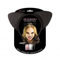 Black Cat Headband with Makeup
