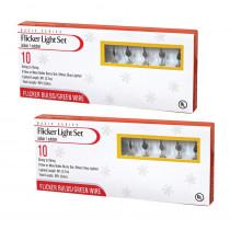 9 ft. Indoor/Outdoor Orange Flicker Light Set (2-Pack)
