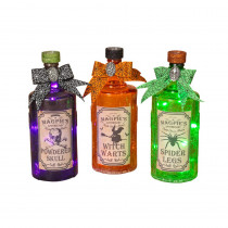 8.5 in. Halloween Crackle Glass Bottle with Lights