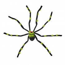 28 in. Black and Green Tarantula with Flashing Eyes