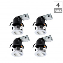 Halo RA 4 in. Ultra-Shallow Remodel Ceiling Housing and Dimmable White Integrated LED Recessed Spotlight Kit, T24, (4-Pack)