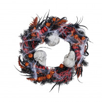 20 in. Halloween Skull Wreath On Natural Twig Base