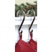 Haute Decor Stocking Scrolls Stocking Holders Bronze Embossed Holly (2-Pack)