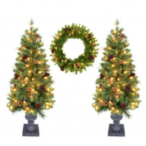 Home Accent Holiday Double 4 ft. Pot Tree Artificial Christmas Tree and 24 in. Wreath with Clear Lights, Pinecones