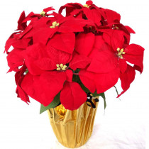 Home Accents Holiday 21 in. Unlit Silk Poinsettia Arrangement (6-Pack)