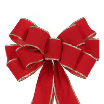 Home Accents Holiday 10.2 in. x 13.3 in. Gold Edge Red Velvet Bow
