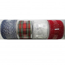 Home Accents Holiday 30 ft. Ribbon Festive (4 Assorted)