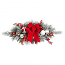 Home Accents Holiday 32 in. Flocked Pine Swag with Red and White Ball and Velvet Bow