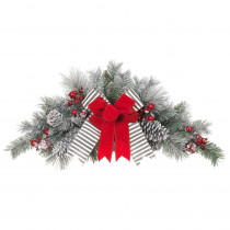 Home Accents Holiday 32 in. Unlit Snowy Pine Swag with Gray Striped and Red Velvet Bows