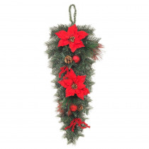 Home Accents Holiday 32 in. Unlit Mixed Pine Swag with Red Poinsettias