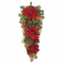 Home Accents Holiday 30 in. Pre-Lit LED Gold Glitter Cedar and Mixed Pine Teardrop with Burgundy Poinsettias and Warm White Lights