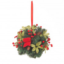 Home Accents Holiday 10 in. Kissing Ball with Pinecones, Berries and Red Ribbon