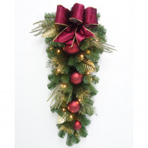 Home Accents Holiday 32 in. Pre-Lit LED Parisian Artificial Christmas Teardrop Swag with Burgundy Bow