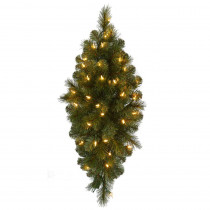 Home Accents Holiday 32 in. Pre-Lit LED Artificial Wesley Spruce Christmas Swag with 133 Tips and 35 Warm White Lights
