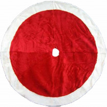 Home Accents Holiday 48 in. Plush Tree Skirt in Red with White Trim