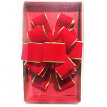 Home Accents Holiday 10 in. x 34.7 in. Full Color Tray/PVC Cover/Sticker Red Velvet Tree Topper Gold Edge Bow