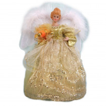 Home Accents Holiday 12 in. LED Angel Topper in Red and Gold