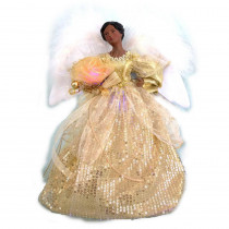 Home Accents Holiday 12 in. A/F LED Fiber Optic Angel Gold Tree Topper