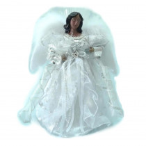Home Accents Holiday 12 in. A/F LED Fiber Optic Angel Silver Tree Topper