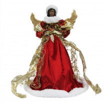 Home Accents Holiday 18 in. Ethnic Red Angel Christmas Tree Topper