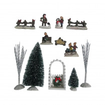 Home Accents Holiday 5.88 in. H Poly-resin Village Accessories (12-Piece)