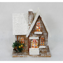Home Accents Holiday 11 in. Christmas Wooden Church with 8-Light Battery Operated Warm White Light
