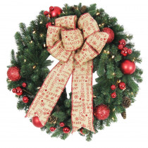 Home Accents Holiday 30 in. Battery Operated Holiday Burlap Artificial Wreath with 50 Clear LED Lights