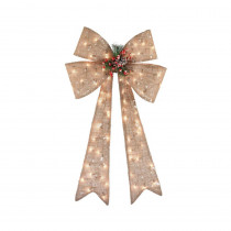 Home Accents Holiday 40 in. Pre-Lit Burlap Bow