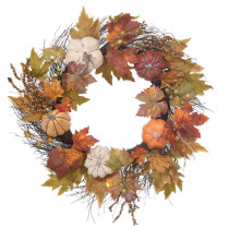 Home Accents Holiday 22 in. Unlit Artificial Harvest Wreath with Pumpkins