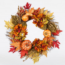 Home Accents Holiday 22 in. Unlit Artificial Harvest Wreath with Pumpkins and Hydrangeas on a Twig Base
