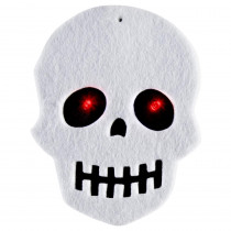 Home Accents Holiday 20-Light LED Battery Operated White Felt Skull Light Set