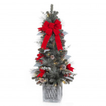 Home Accents Holiday 4 ft. Pre-Lit Snowy Pine Porch Artificial Tree with 50 Clear Battery Operated LED Lights and Timer Function