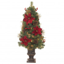 Home Accents Holiday 4 ft. Pre-Lit LED Gold Glitter Cedar and Mixed Pine Porch Artificial Christmas Tree with Burgundy Poinsettias