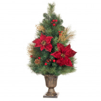Home Accents Holiday 32 in. Gold Glitter Cedar and Mixed Pine Porch Tree with Burgundy Poinsettias