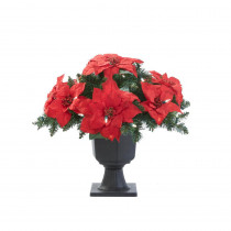 Home Accents Holiday 22 in. Battery Operated Artificial Poinsettia Topiary with 35 Clear LED Lights