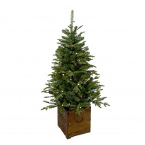 Home Accents Holiday 4 ft. Pre-Lit Frasier Artificial Christmas Porch Tree with Warm White Battery Operated LED Light and Wood Pot