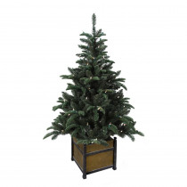 Home Accents Holiday 4 ft. Pre-Lit Noble Artificial Christmas Porch Tree with Warm White Battery Operated LED light and Wood Pot