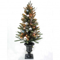 Home Accents Holiday 4 ft. Pre-Lit Decorated Blue Spruce Potted Artificial Christmas Tree with 50-Clear Lights